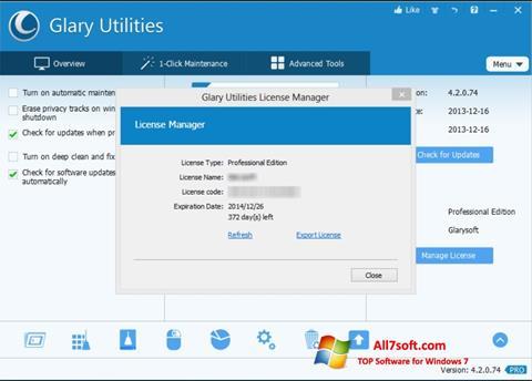스크린 샷 Glary Utilities Windows 7