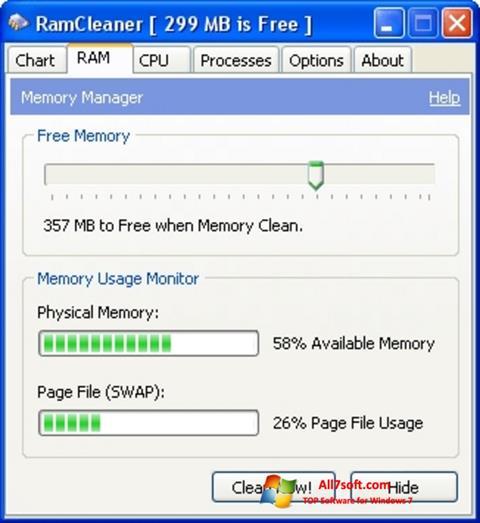 스크린 샷 RamCleaner Windows 7