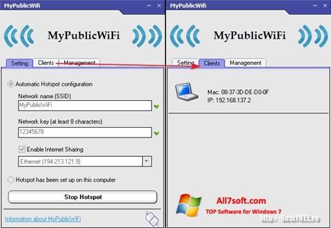 스크린 샷 MyPublicWiFi Windows 7