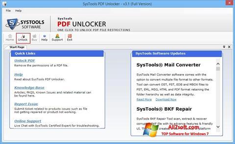스크린 샷 PDF Unlocker Windows 7