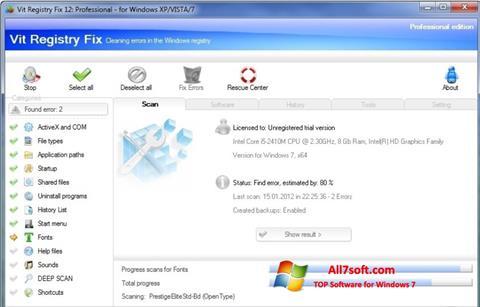 스크린 샷 Vit Registry Fix Windows 7