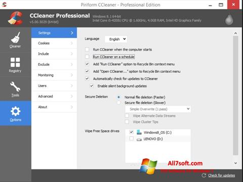 스크린 샷 CCleaner Windows 7