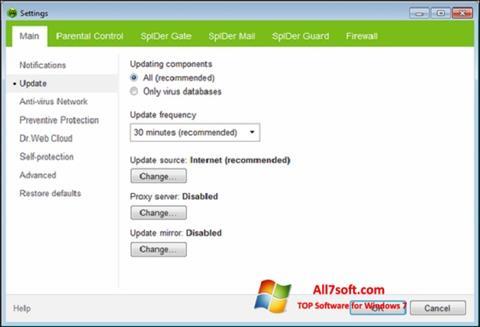 스크린 샷 Dr.Web Security Space Windows 7