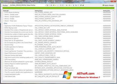 스크린 샷 NVIDIA Inspector Windows 7