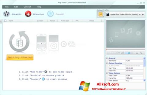 스크린 샷 Any Video Converter Windows 7