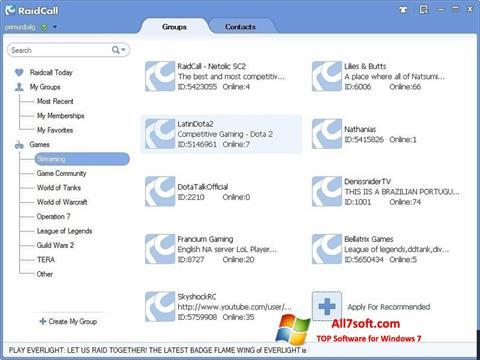 스크린 샷 RaidCall Windows 7