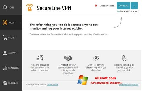 스크린 샷 Avast SecureLine VPN Windows 7