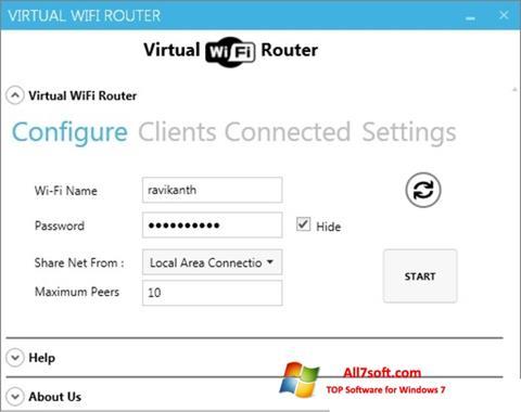 스크린 샷 Virtual WiFi Router Windows 7