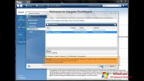 스크린 샷 Seagate DiscWizard Windows 7