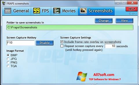 스크린 샷 Fraps Windows 7