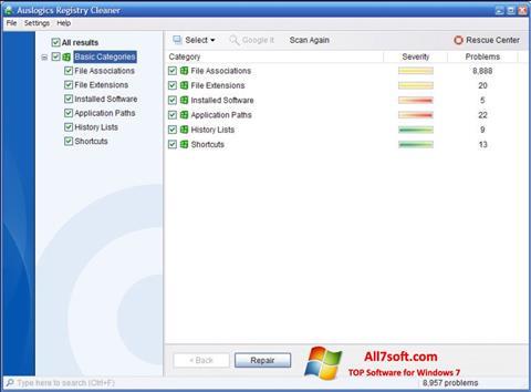 스크린 샷 Auslogics Registry Cleaner Windows 7