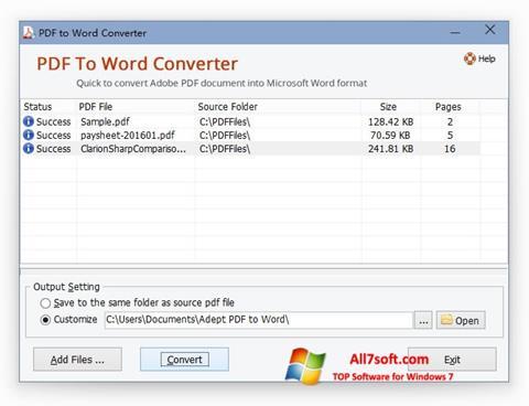스크린 샷 PDF to Word Converter Windows 7