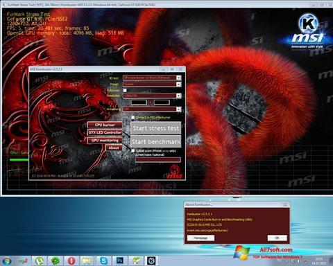 스크린 샷 MSI Kombustor Windows 7