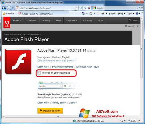 스크린 샷 Adobe Flash Player Windows 7