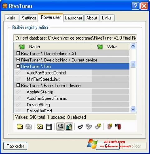 스크린 샷 RivaTuner Windows 7