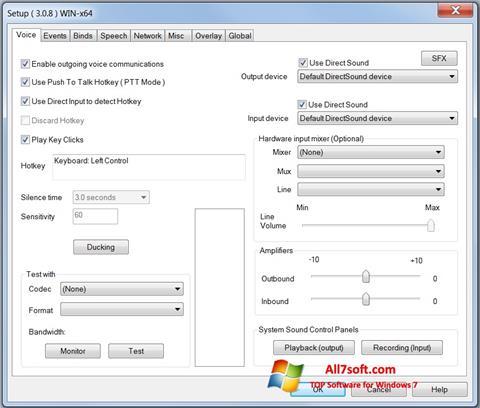 스크린 샷 Ventrilo Windows 7