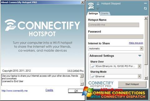 스크린 샷 Connectify Windows 7