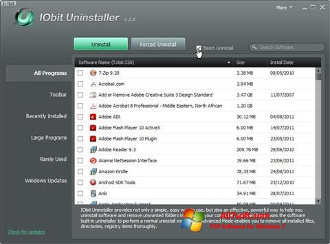 스크린 샷 IObit Uninstaller Windows 7