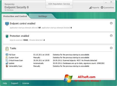 스크린 샷 Kaspersky Endpoint Security Windows 7