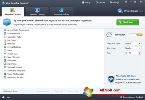 스크린 샷 Wise Registry Cleaner Windows 7