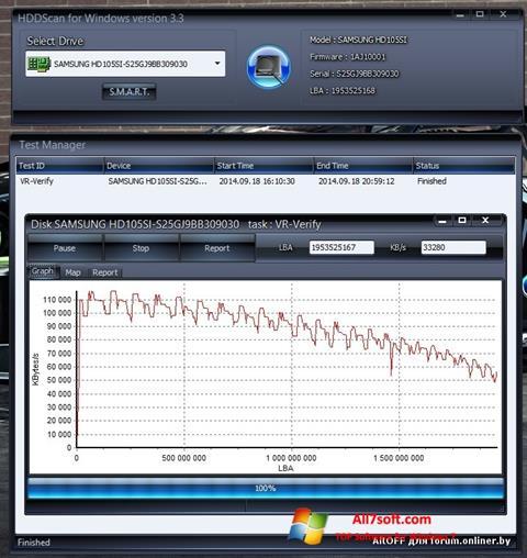 스크린 샷 HDDScan Windows 7