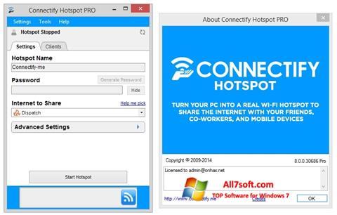 스크린 샷 Connectify Hotspot Windows 7