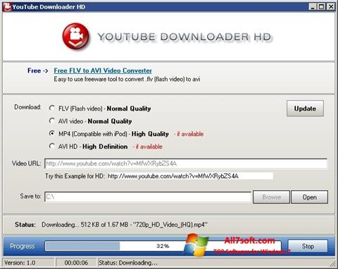 스크린 샷 Youtube Downloader HD Windows 7