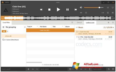 스크린 샷 AIMP Windows 7