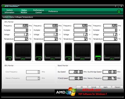 스크린 샷 AMD Overdrive Windows 7