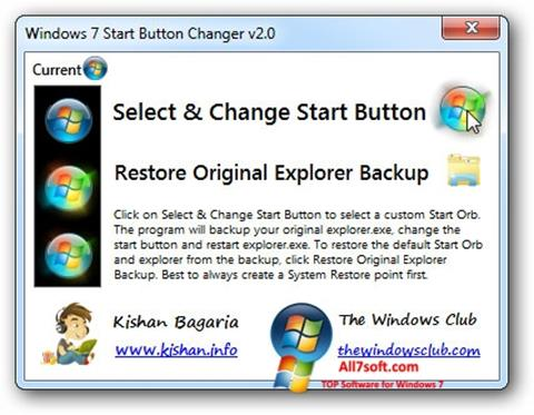 스크린 샷 Windows 7 Start Button Changer Windows 7